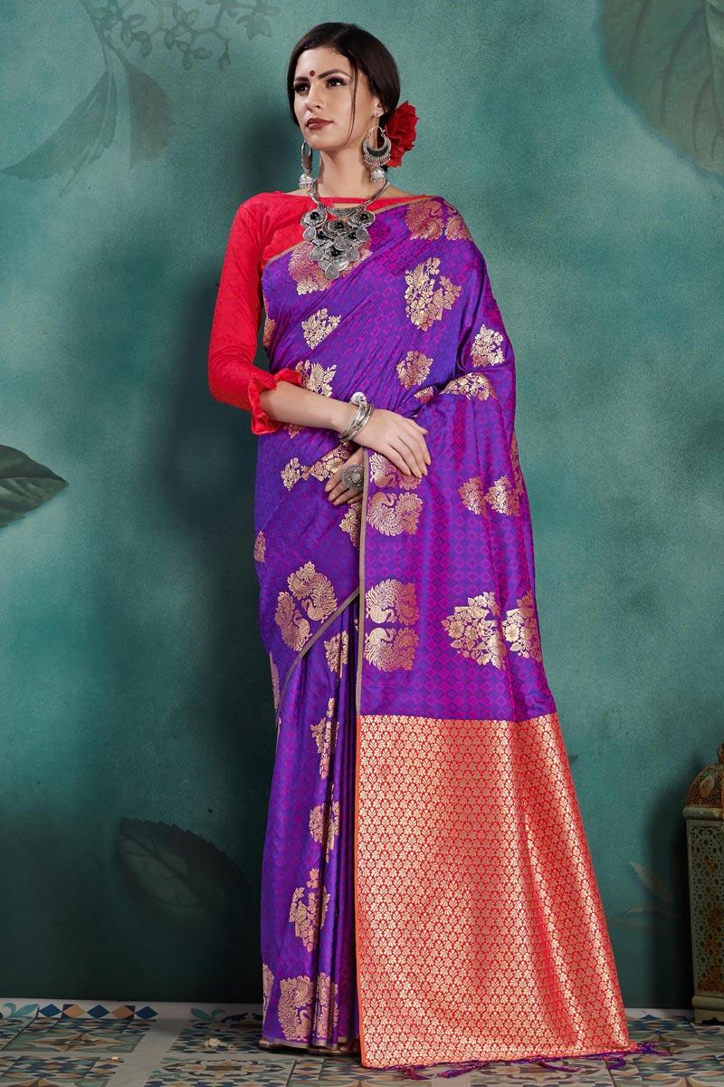 Art Silk Purple Sangeet Function Wear Weaving Work Designer Saree