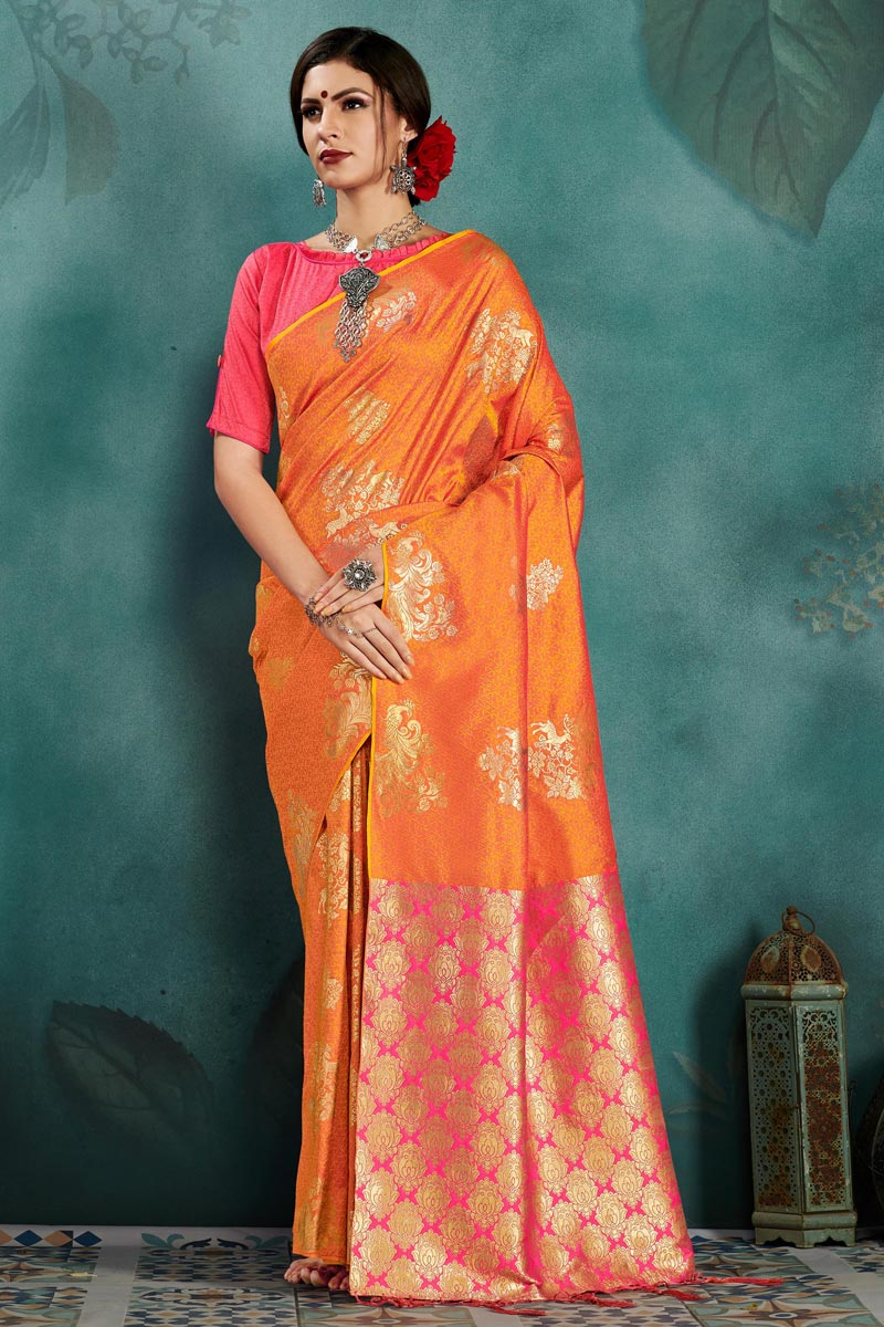 Art Silk Sangeet Function Wear Weaving Work Designer Saree In Orange