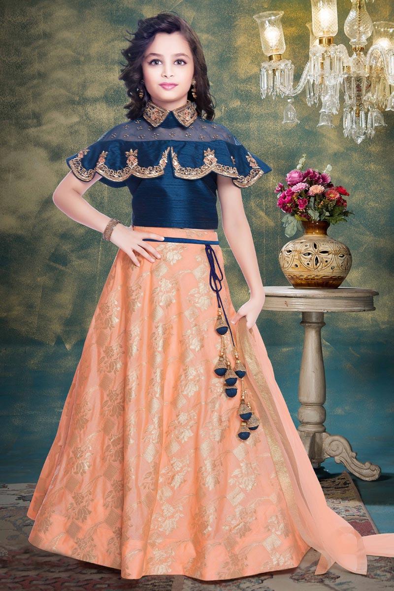 Wedding Wear Designer Peach Embellished Girls Lehenga Choli In Fancy Fabric