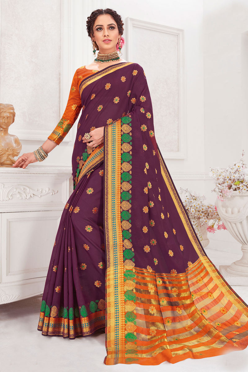 Cotton Silk Fabric Purple Color Weaving Work Designer Saree
