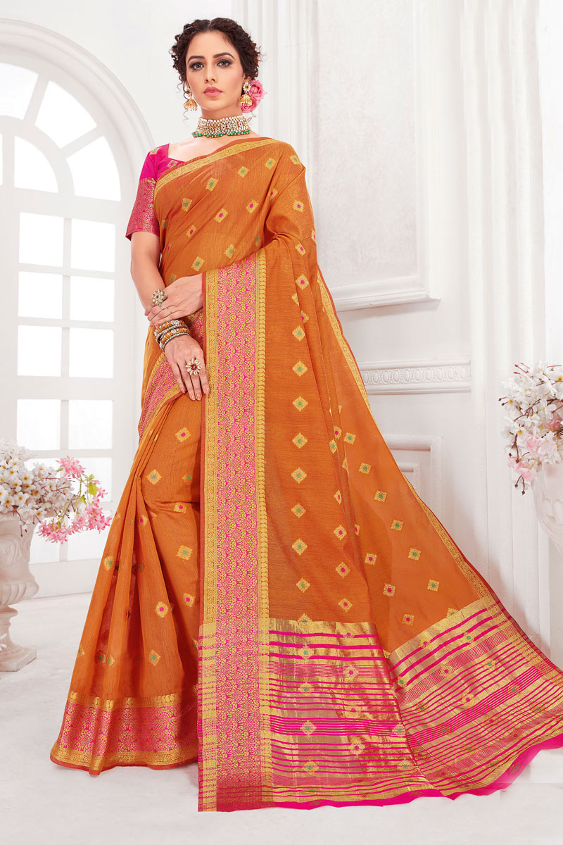 Weaving Work On Orange Color Cotton Silk Fabric Party Wear Saree