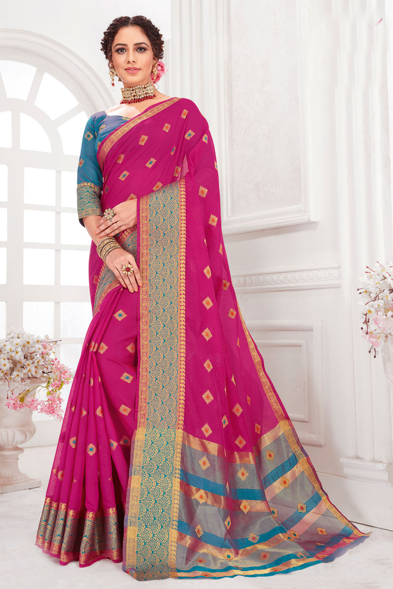 Rani Color Cotton Silk Fabric Function Wear Saree With Weaving Work