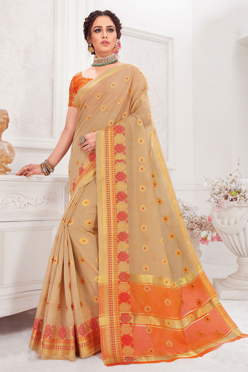 Cotton Silk Fabric Beige Color Festive Saree With Weaving Work
