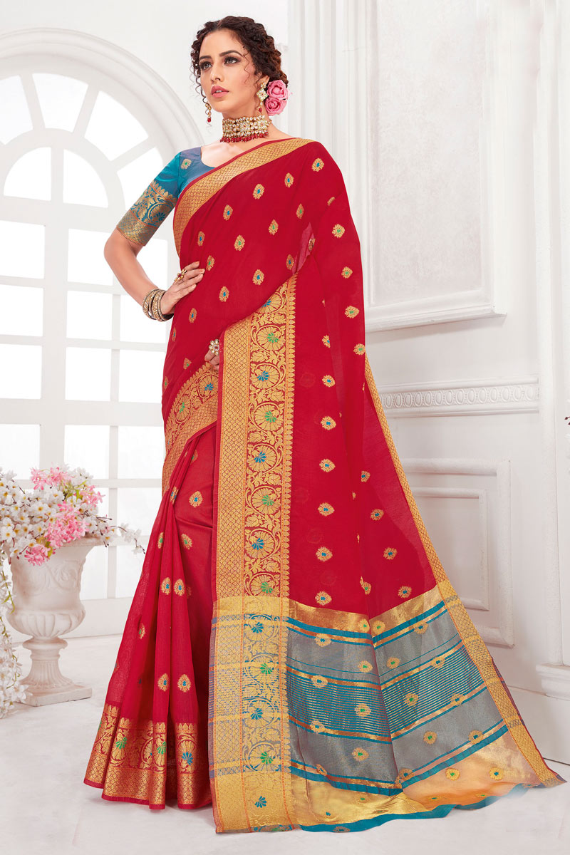 Weaving Work On Occasion Wear Saree In Red Color