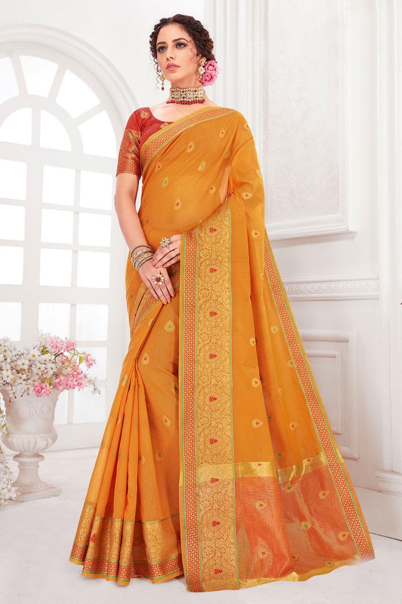 Weaving Work On Reception Wear Saree In Cotton Silk Fabric Orange Color