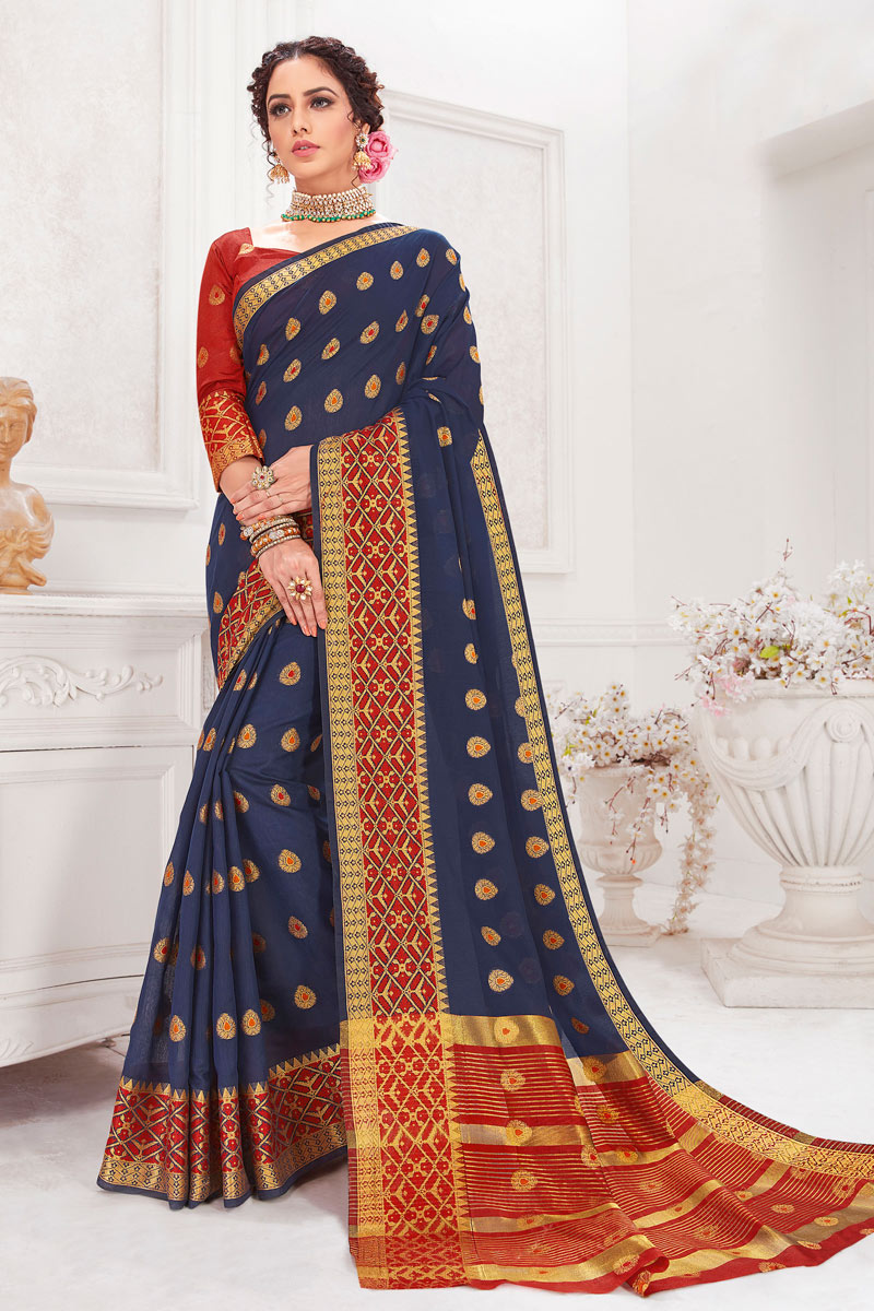 Weaving Work On Navy Blue Color Designer Saree In Cotton Silk Fabric
