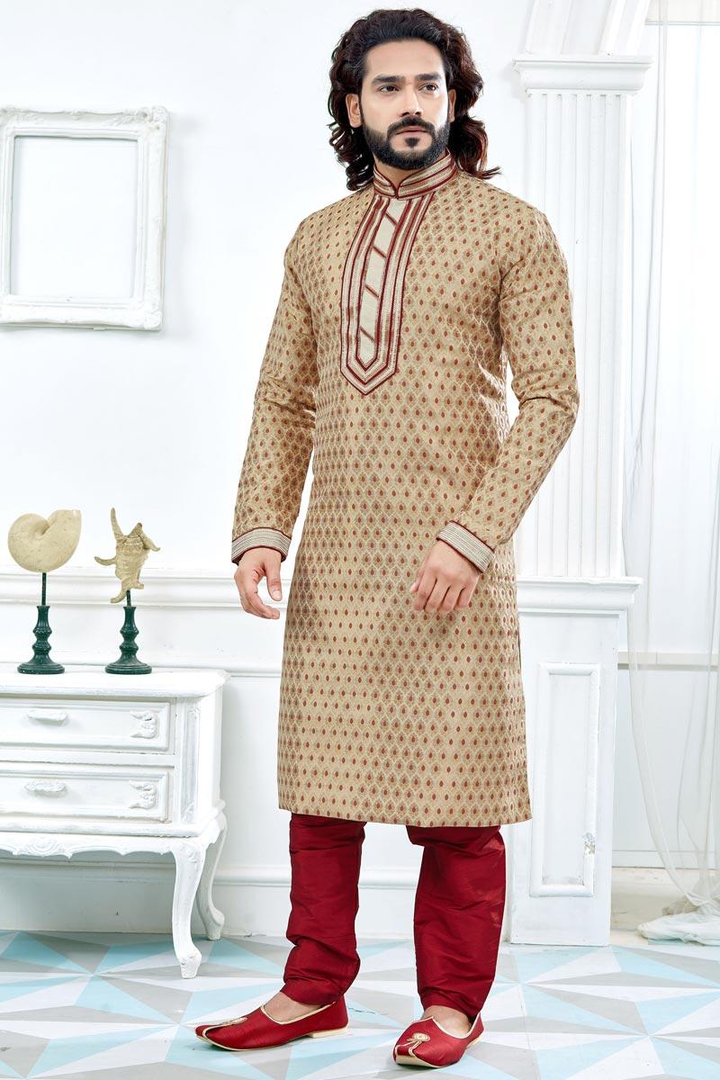 Jacquard Beige Wedding Function Wear Printed Mens Kurta Sets