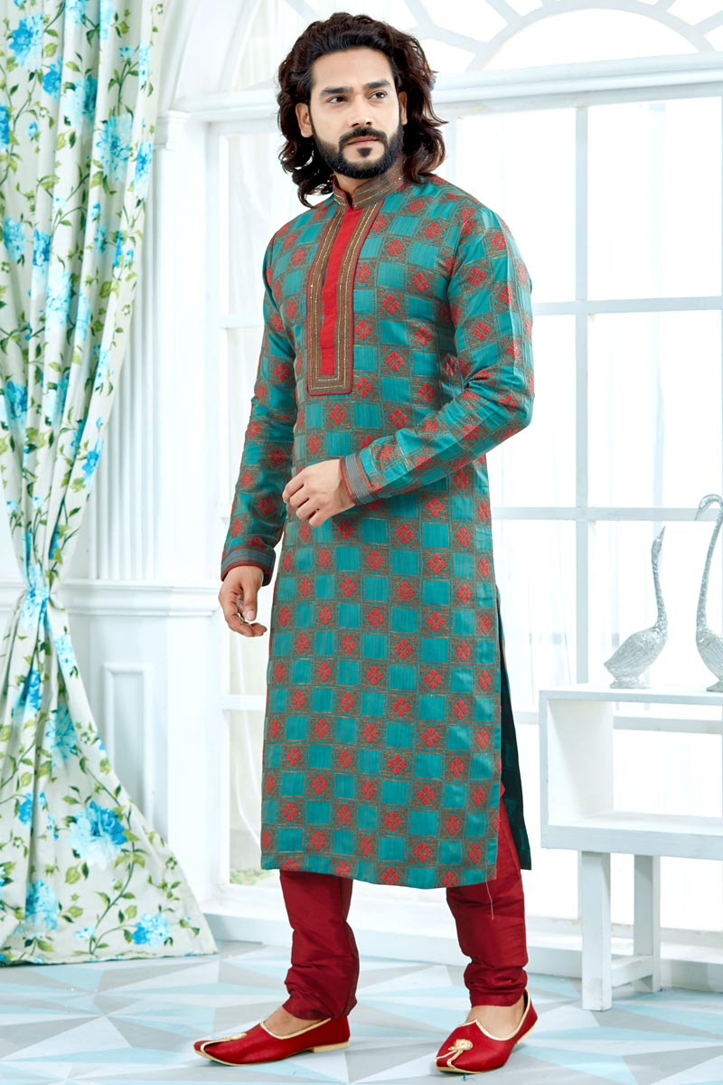 Function Wear Jacquard Fabric Cyan Color Printed Mens Kurta Pyjama