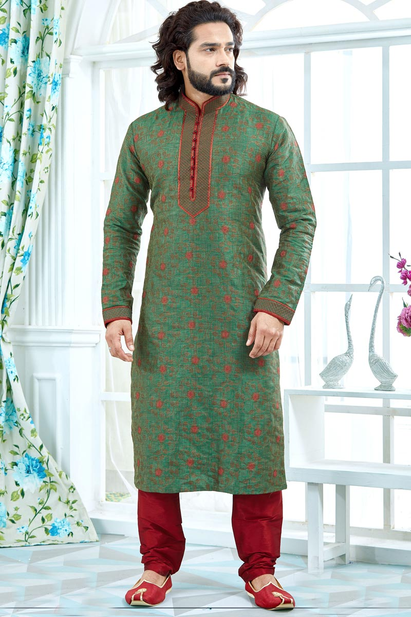 Jacquard Fabric Green Wedding Function Wear Printed Mens Kurta Sets