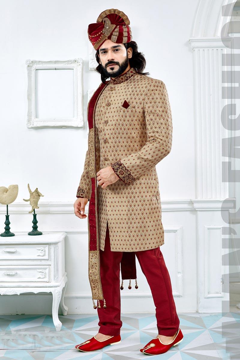 Golden Color Designer Sherwani For Dulha In Jacquard Fabric