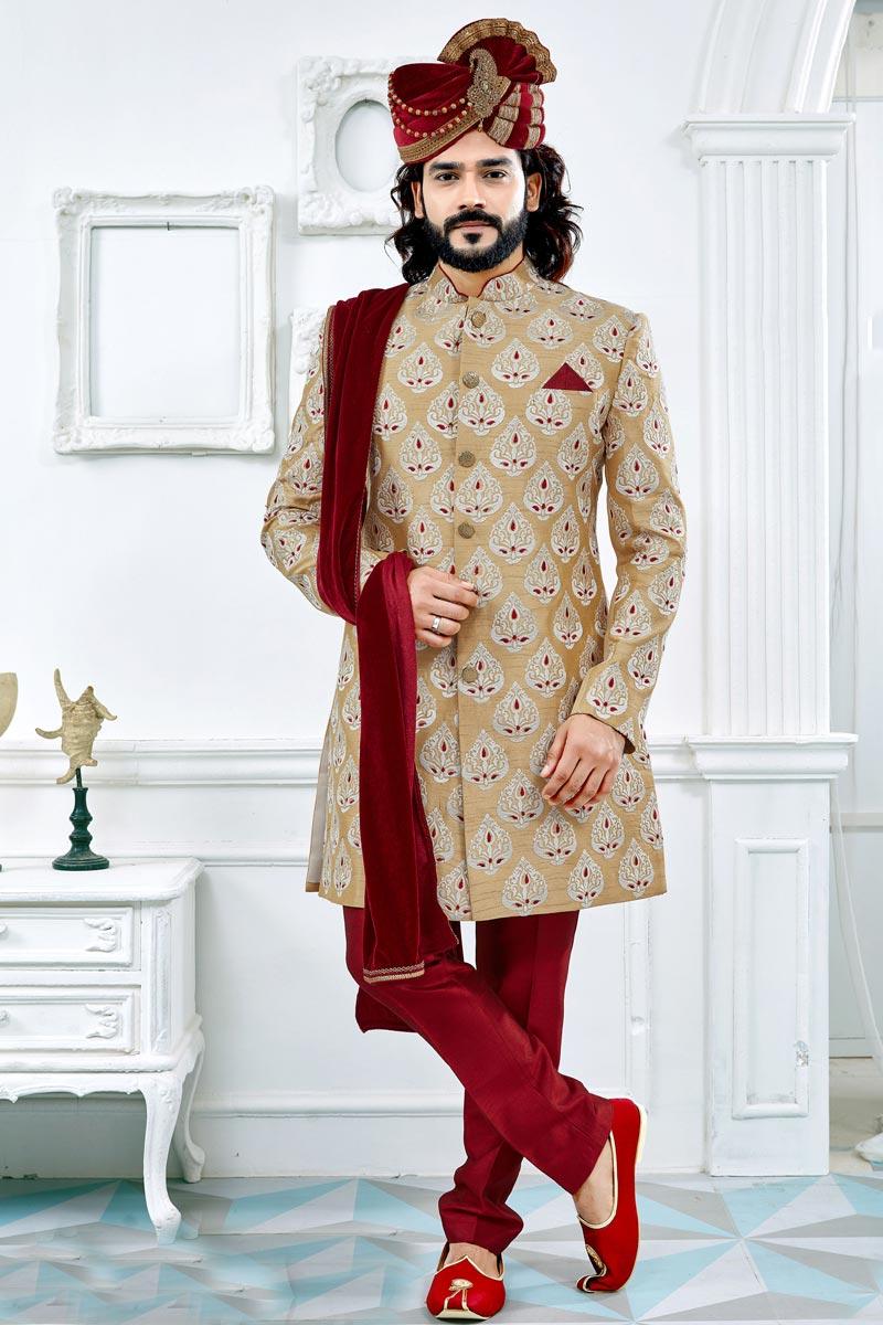 Designer Art Silk Golden Color Fancy Groom Sherwani
