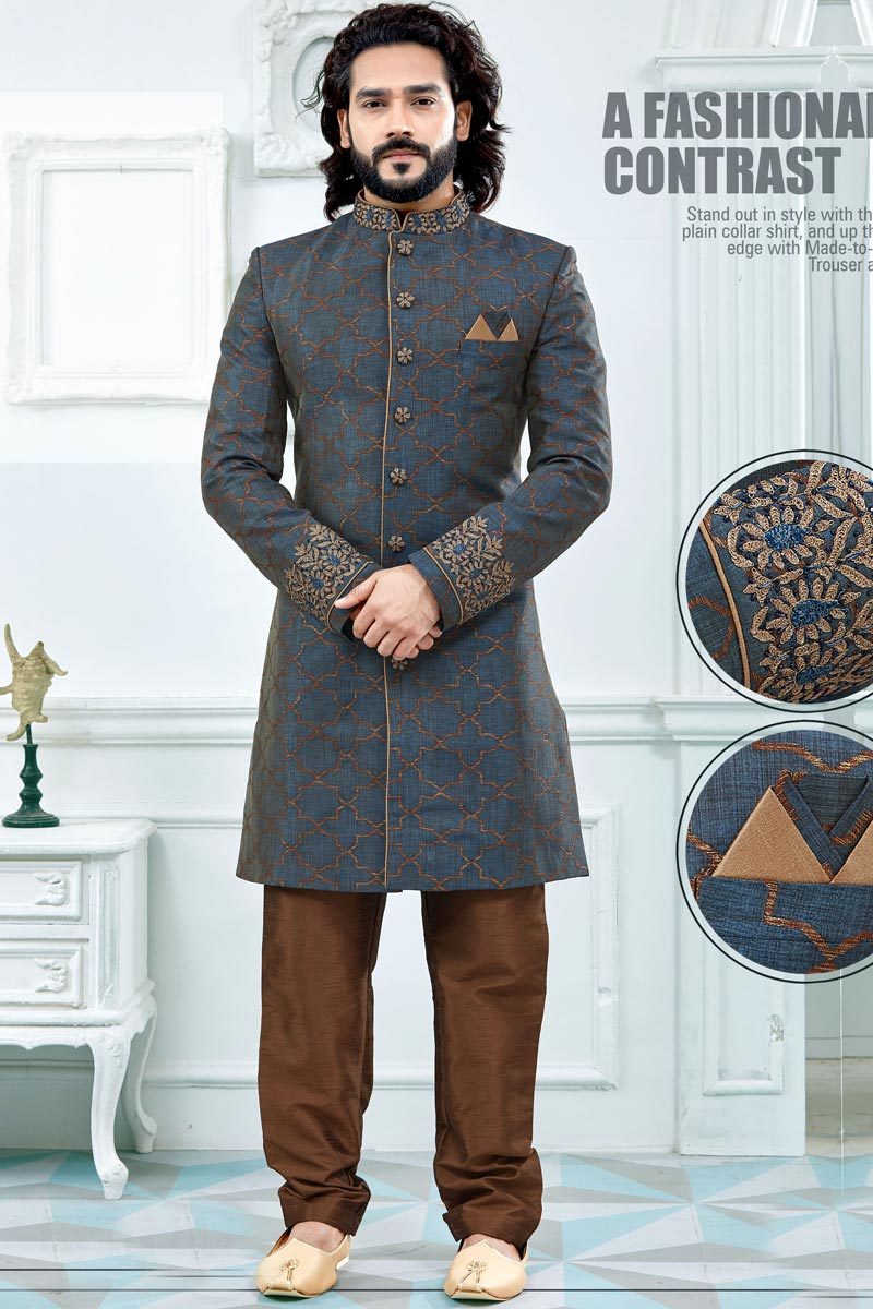 Grey Designer Sherwani For Dulha In Jacquard Fabric