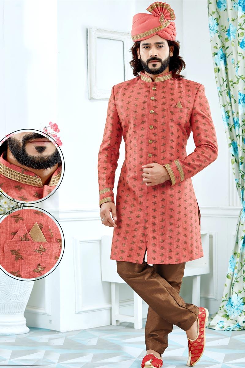 Designer Jacquard Fabric Peach Fancy Groom Sherwani