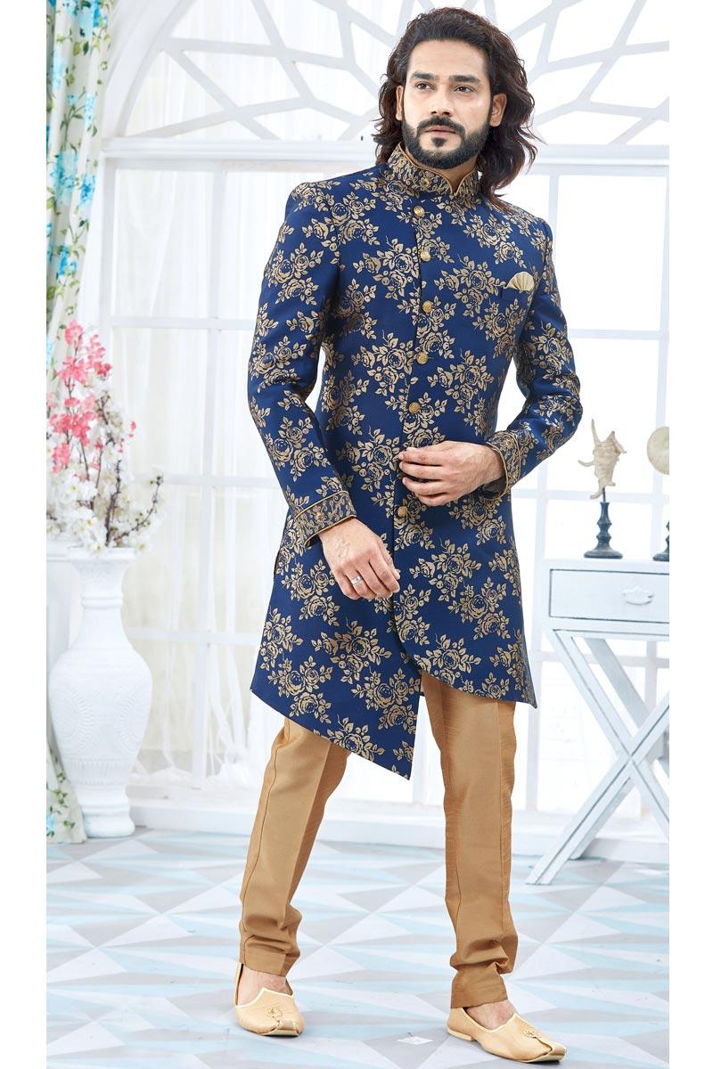 Designer Jacquard Fabric Navy Blue Fancy Groom Sherwani