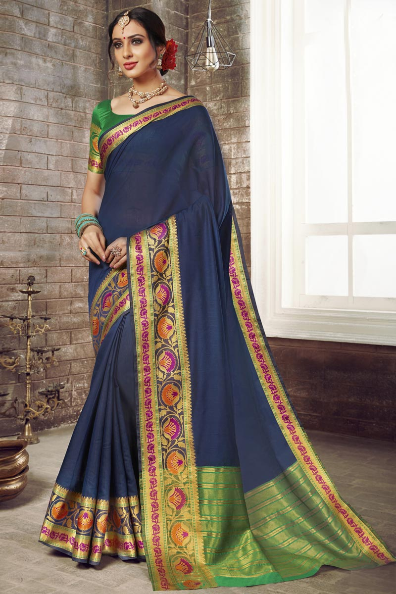 Graceful Traditional Wear Navy Blue Cotton Silk Saree