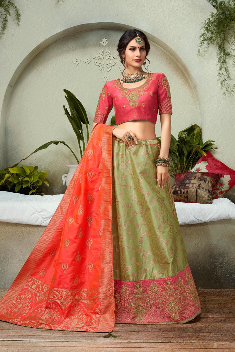 Sea Green Color Jacquard Silk Fabric Reception Wear Lehenga Choli