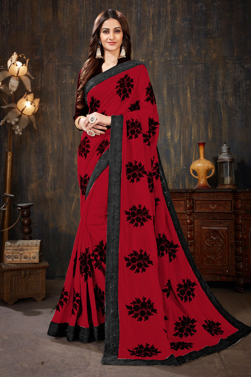 Embroidery Work On Art Silk Fabric Red Color Function Wear Saree