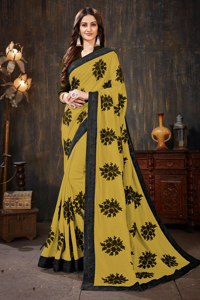 Embroidery Work On Yellow Color Art Silk Fabric Party Wear Saree