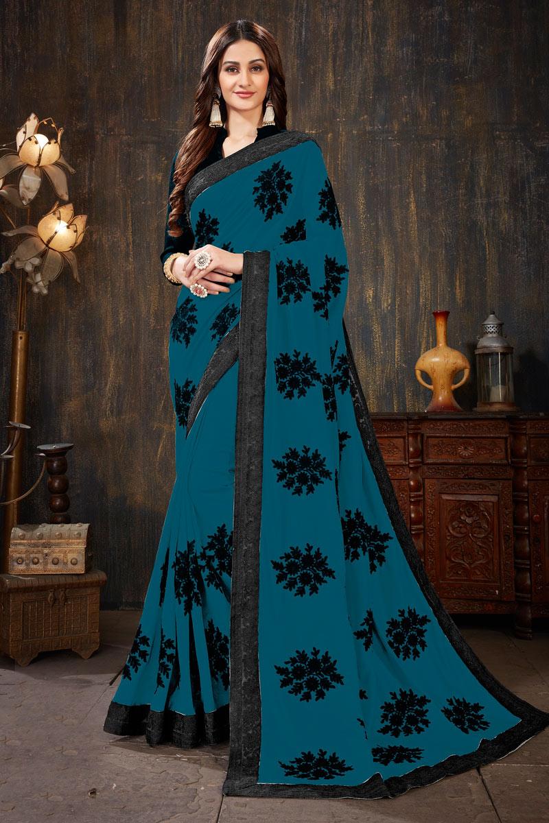 Art Silk Fabric Sky Blue Color Festive Saree With Embroidery Work