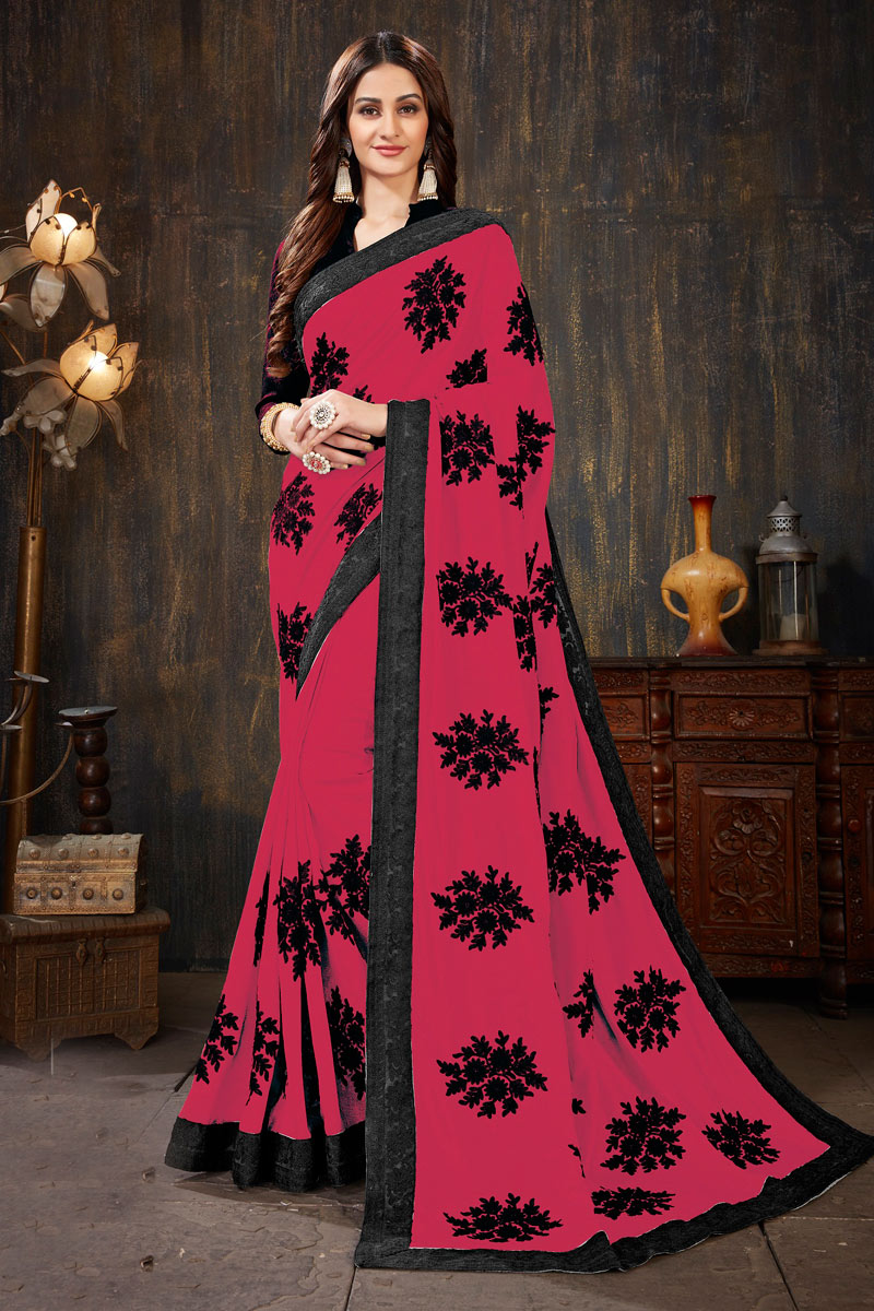 Embroidery Work On Occasion Wear Saree In Dark Pink Color