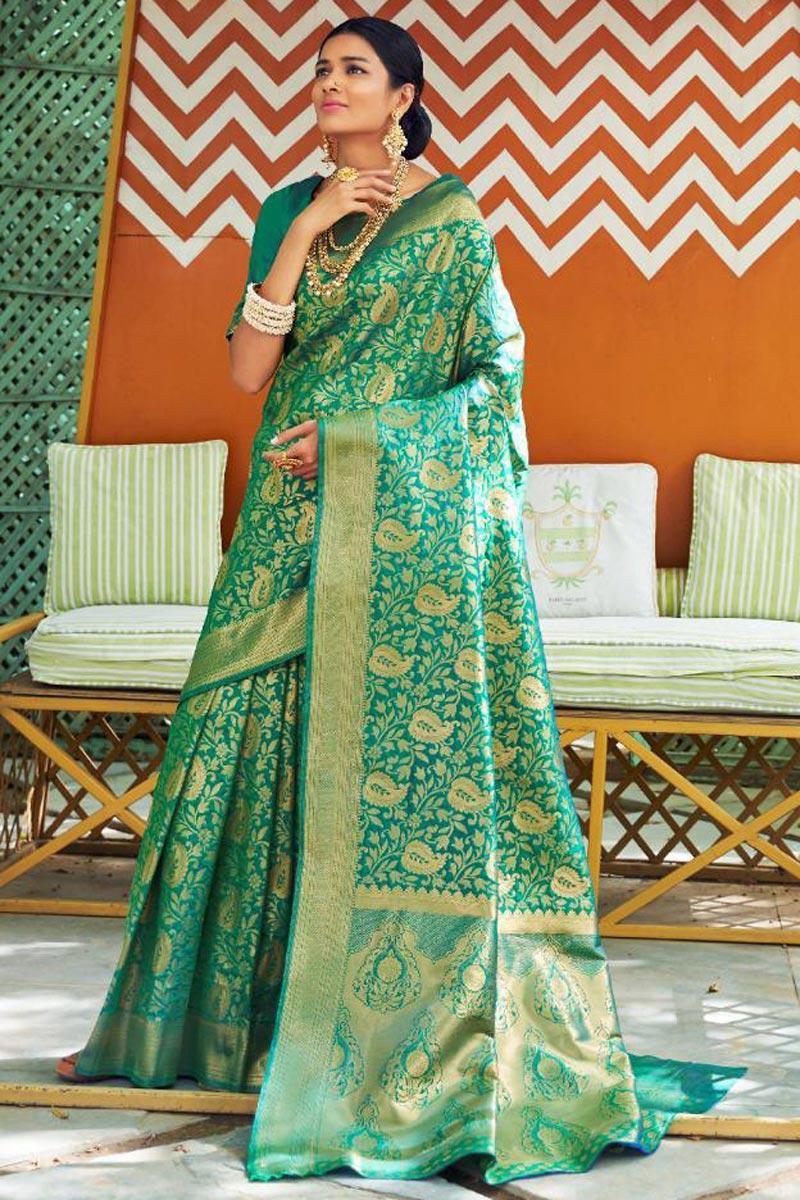 Function Wear Green Designer Traditional Art Silk Saree