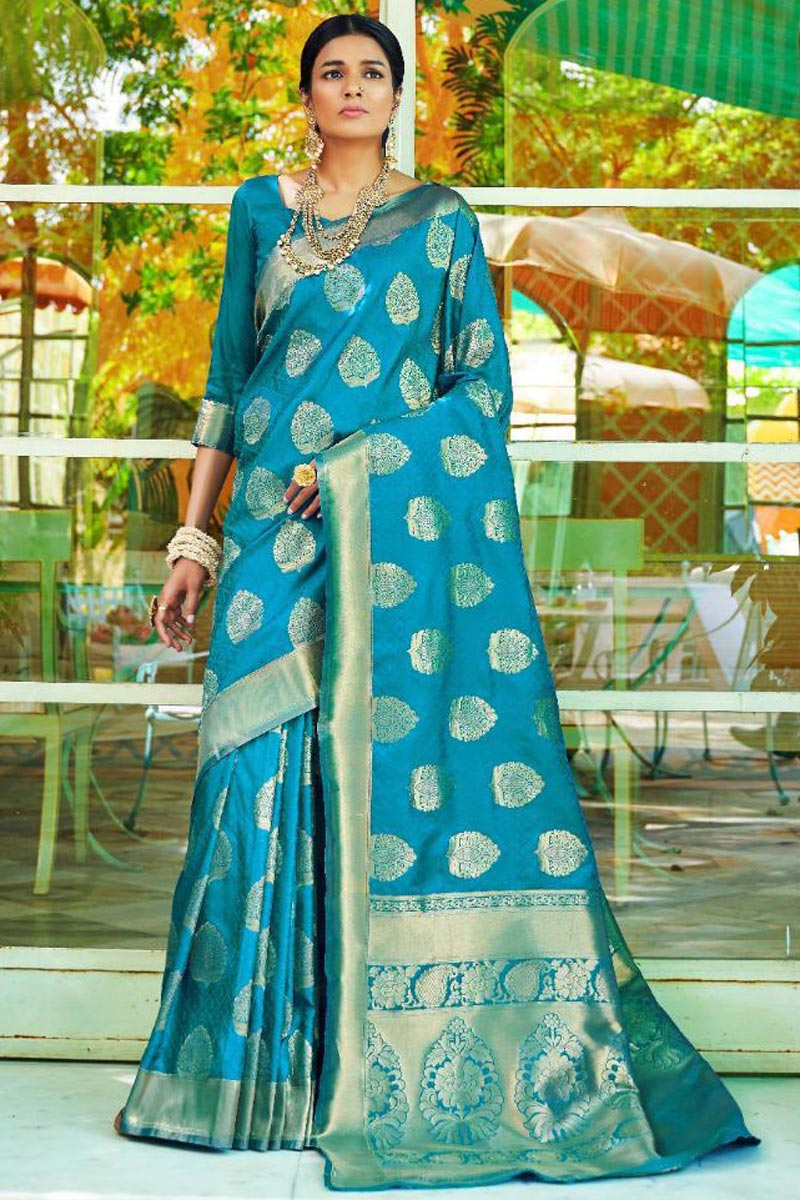 Traditional Sky Blue Art Silk Function Wear Saree