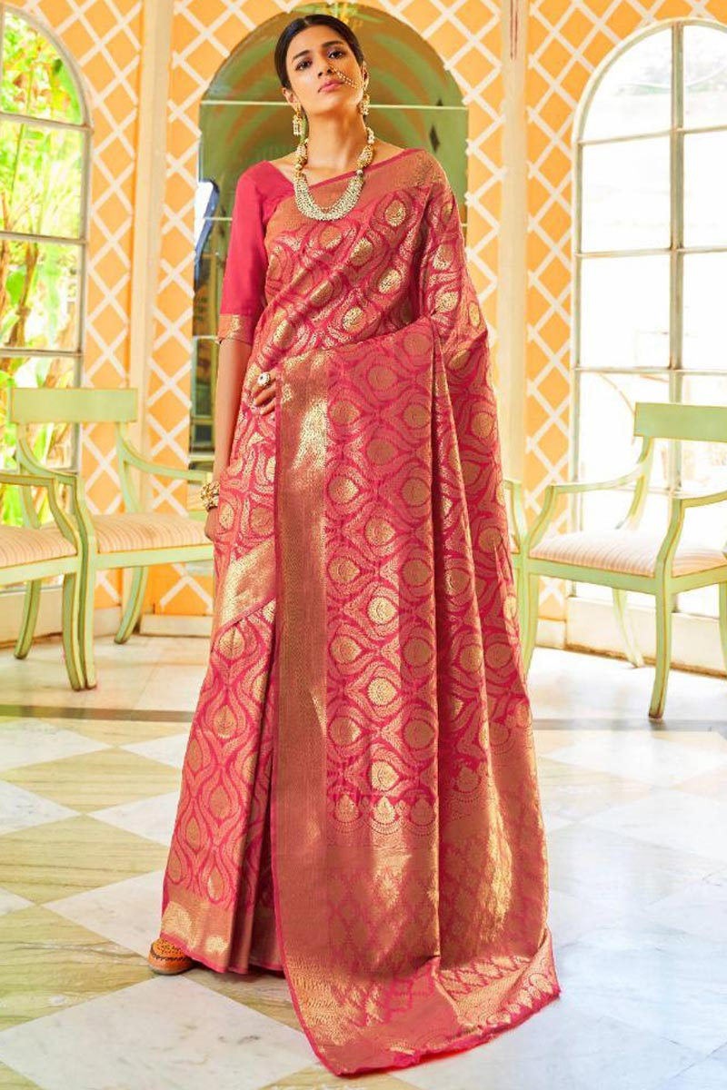 Pink Wedding Function Wear Art Silk Fancy Saree
