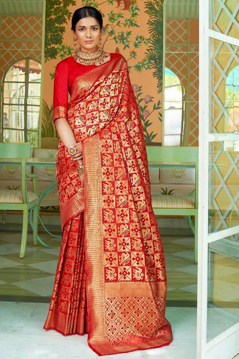 Art Silk Traditional Red Color Function Wear Saree