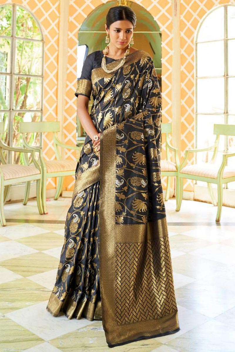 Wedding Function Wear Art Silk Black Fancy Saree