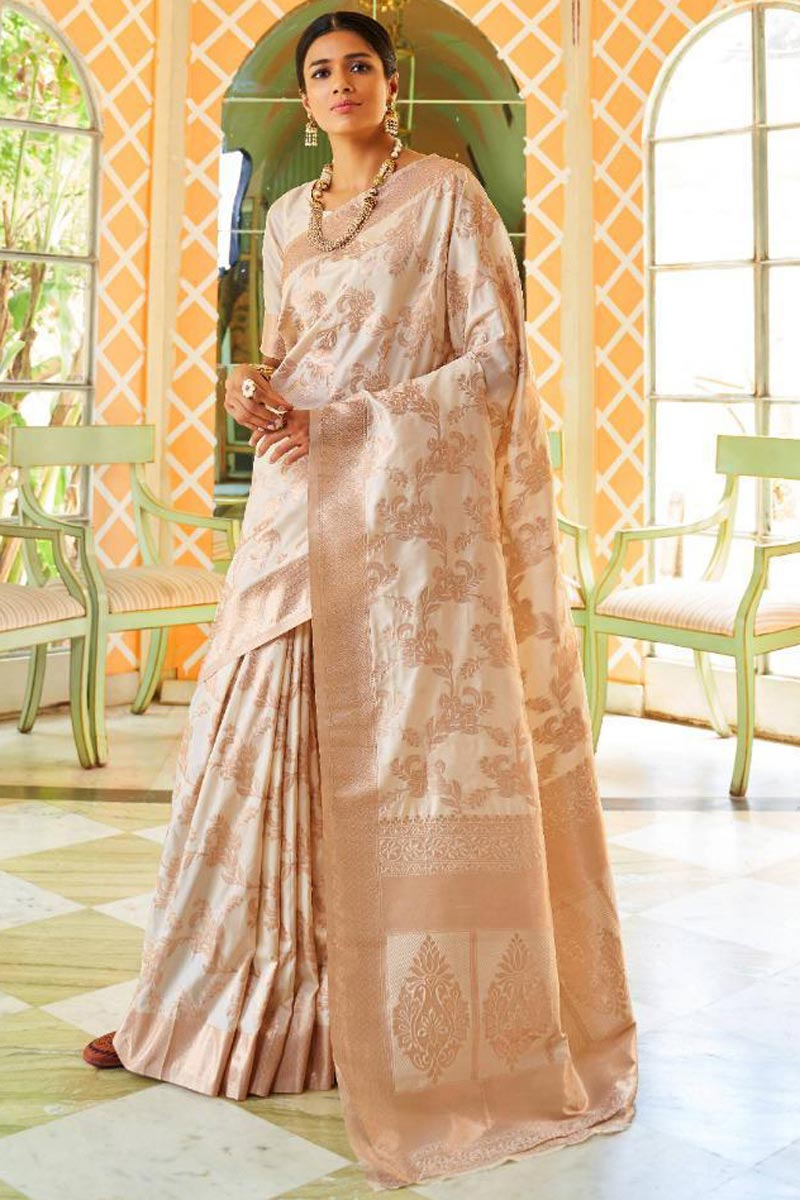 Off White Traditional Art Silk Function Wear Saree