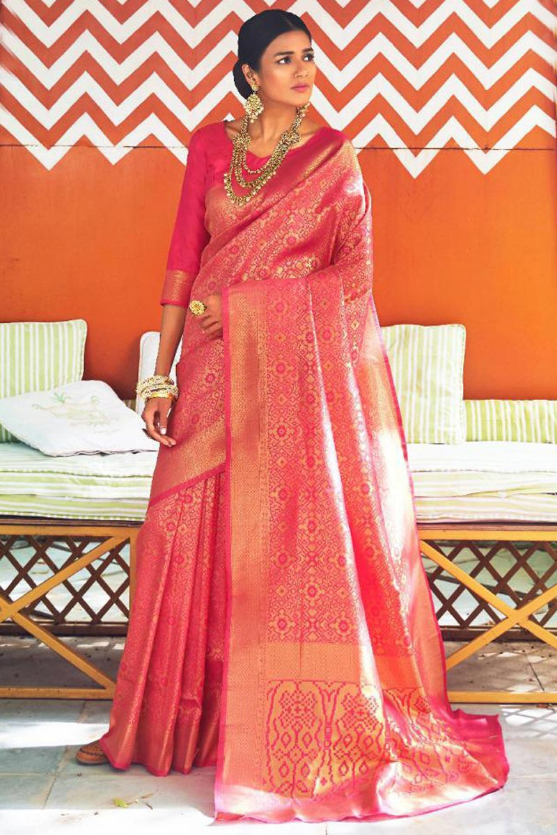 Wedding Function Wear Pink Art Silk Fancy Saree