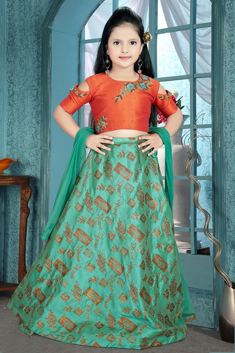 Cyan Designer Party Wear Art Silk Lehenga Choli For Girls