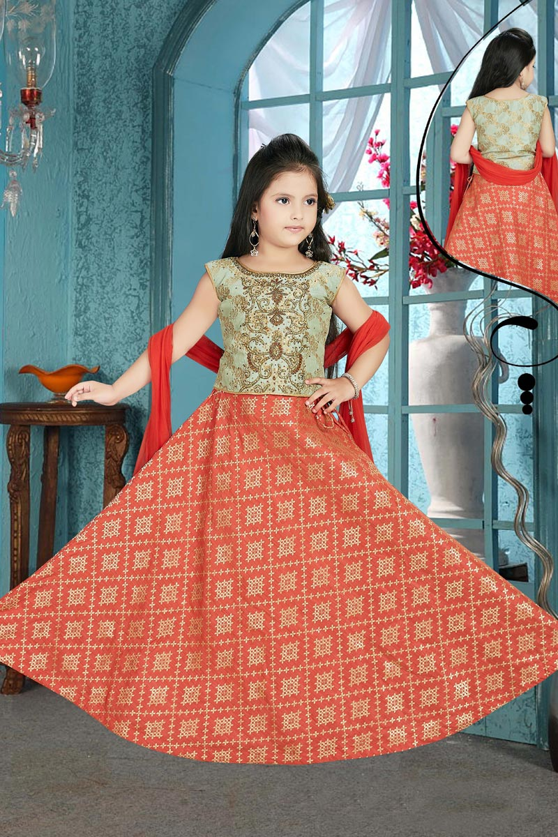 Party Wear Designer Red Lehenga Choli In Jacquard Fabric For Girls