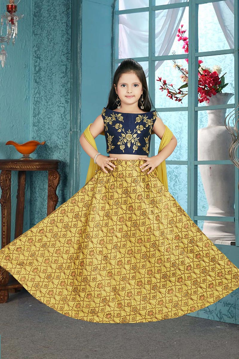 Art Silk Party Wear Yellow Color Lehenga Choli For Girls