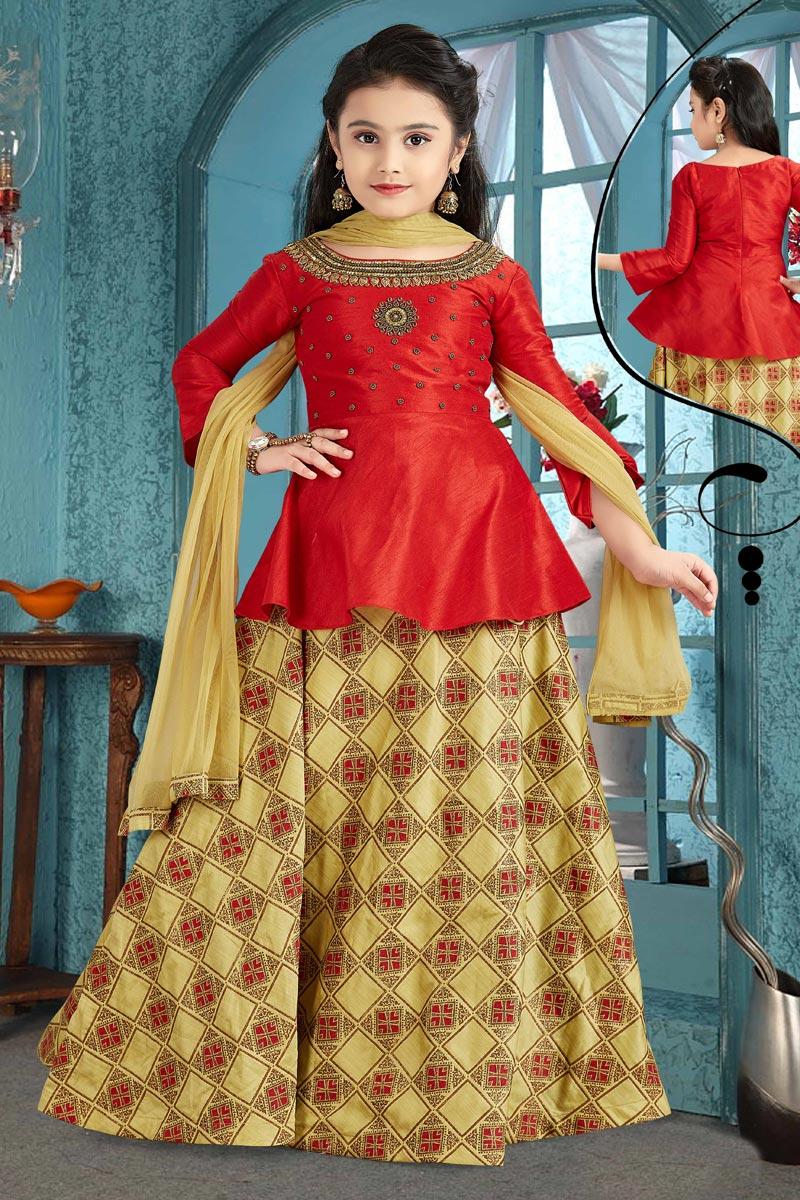 Yellow Designer Lehenga Choli For Girls In Art Silk Fabric