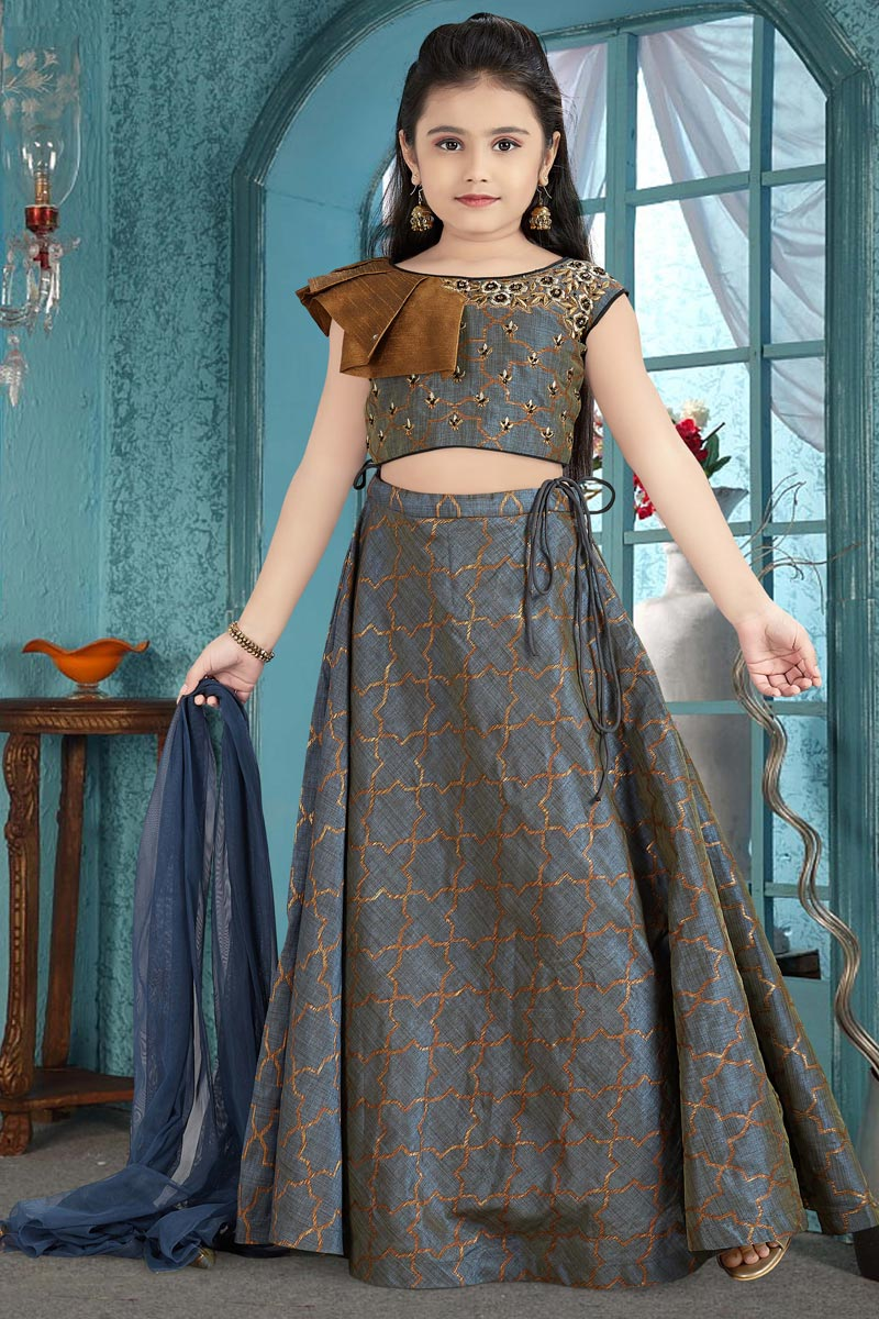 Jacquard Fabric Grey Party Wear Lehenga Choli For Girls