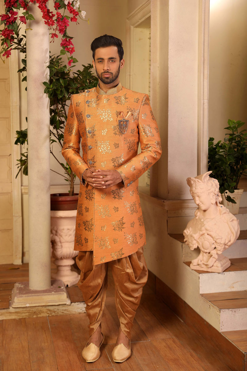 Embroidered Fancy Orange Color Mens Indowestern In Jacquard Silk Fabric