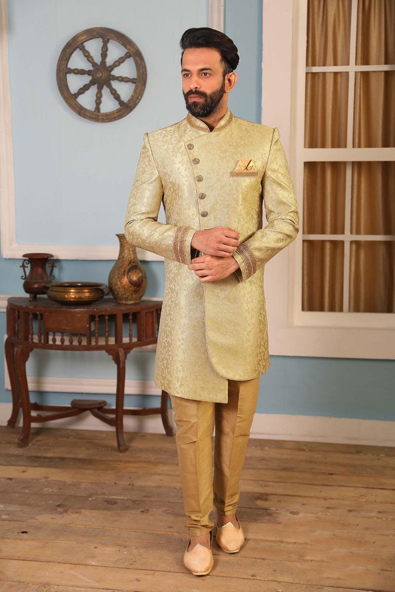 Jacquard Silk Fabric Beige Color Party Wear Indowestern For Men
