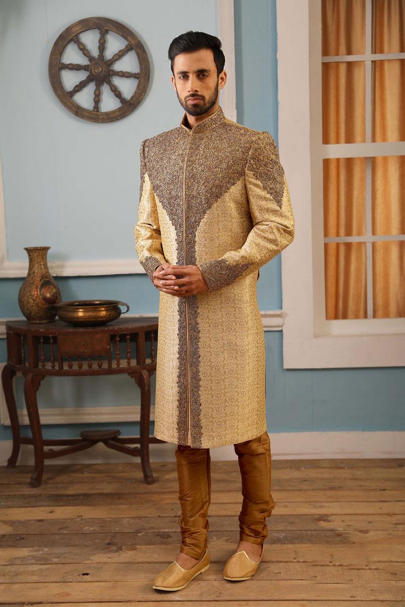 Beige Color Jacquard Silk Fabric Function Wear Readymade Indowestern Sherwani For Men