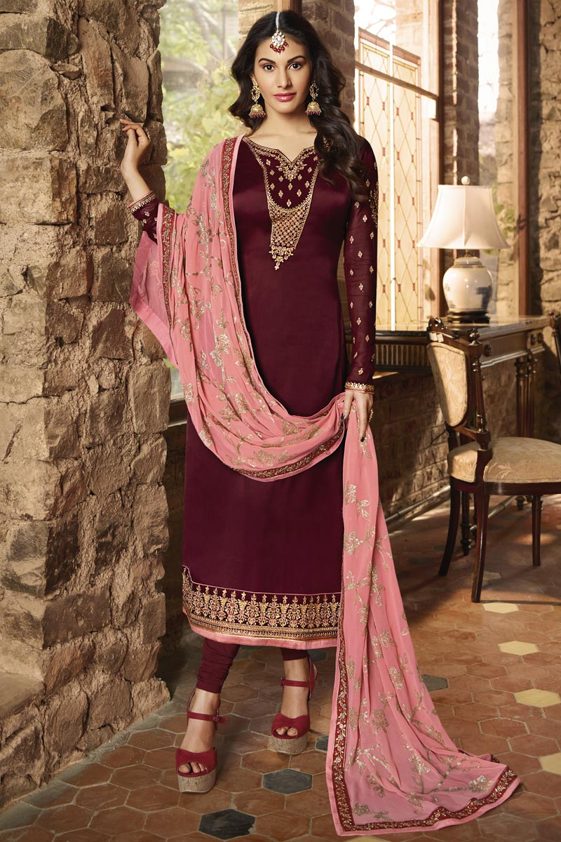 Georgette Embroidered Fancy Straight Cut Salwar Suit In Maroon