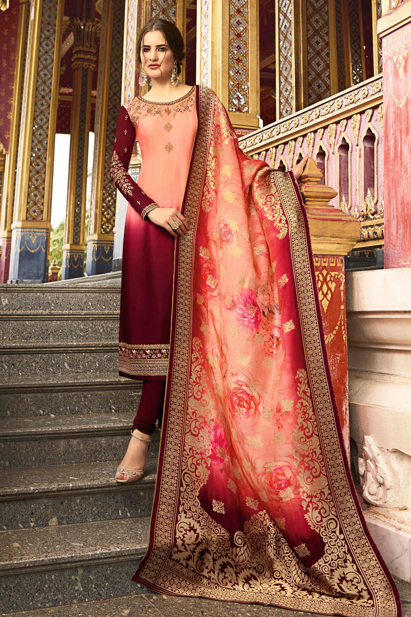 Maroon Color Satin Georgette Fabric Function Wear Straight Cut Salwar Kameez With Embroidery Designs