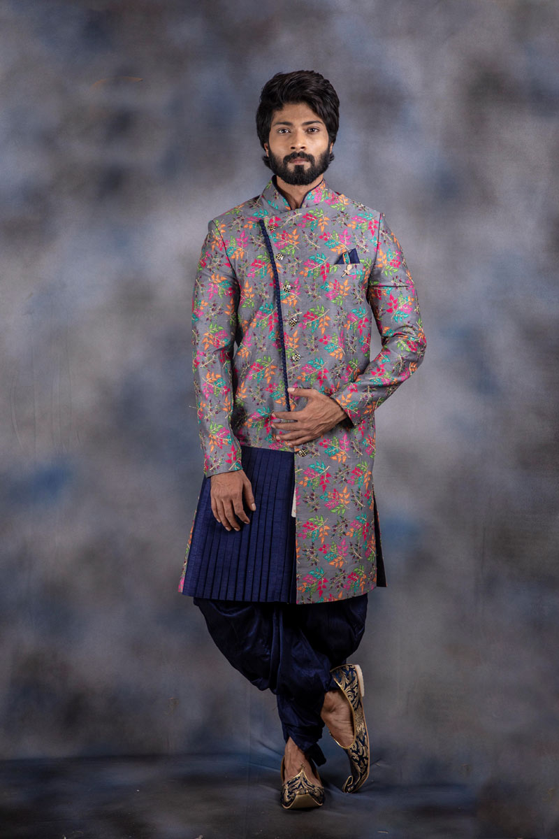 Jacquard Fabric Mens Wear Readymade Indowestern In Grey Color