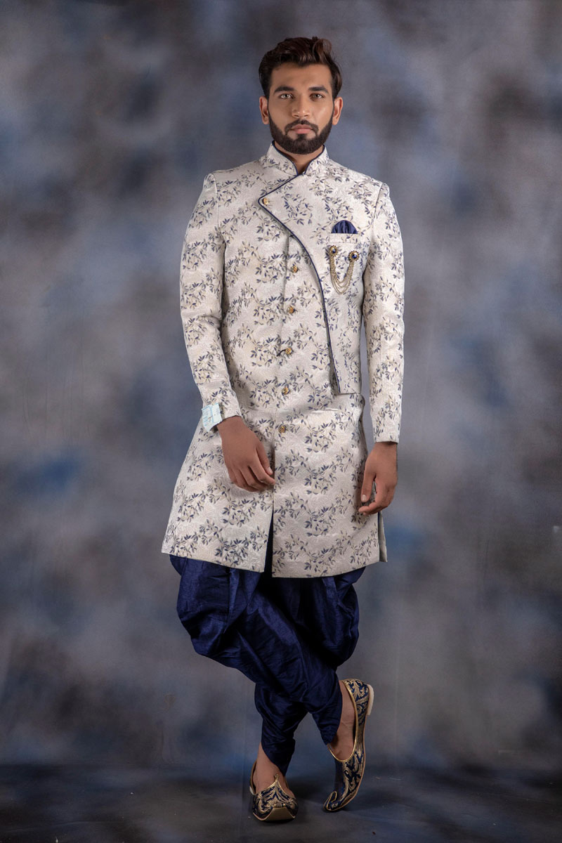 Off White Color Mens Readymade Indowestern