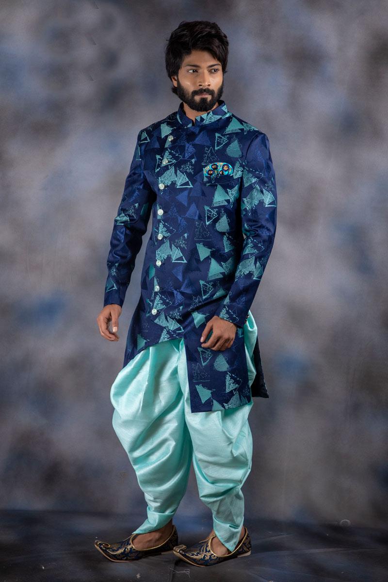 Jacquard Fabric Navy Blue Color Mens Readymade Indowestern