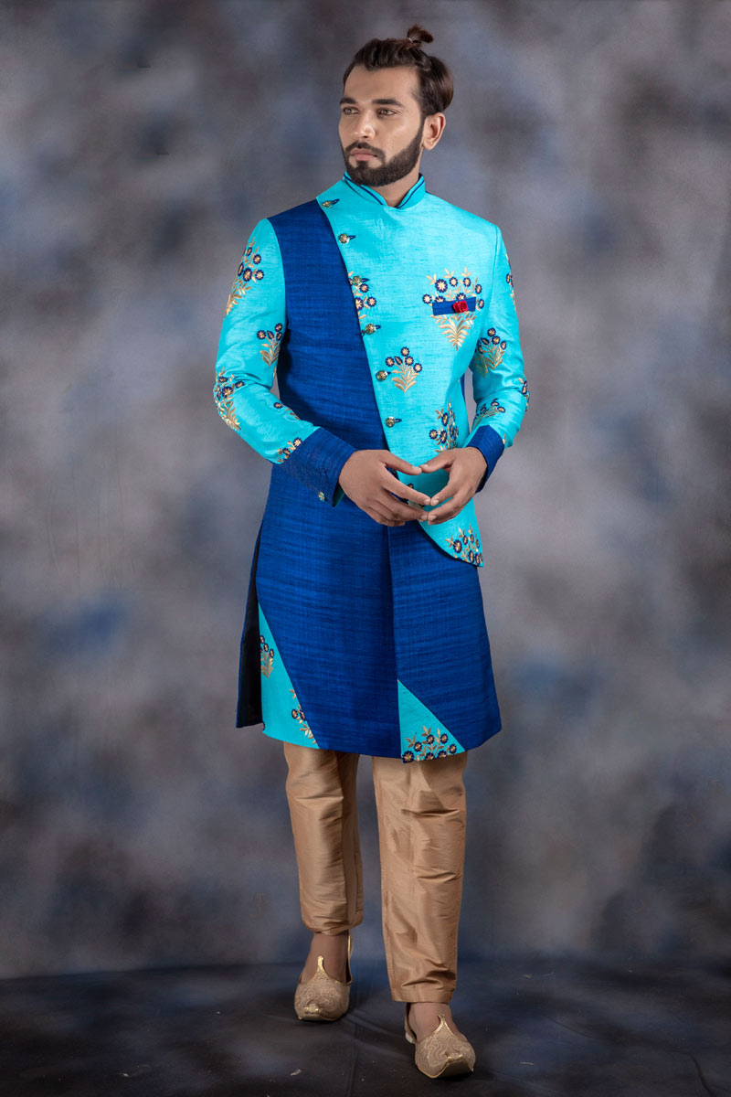 Blue Color Jacquard Fabric Party Wear Readymade Indowestern For Men