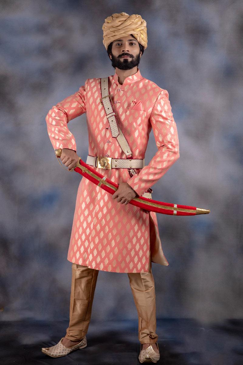 Festive Wear Jacquard Fabric Mens Readymade Indowestern In Peach Color