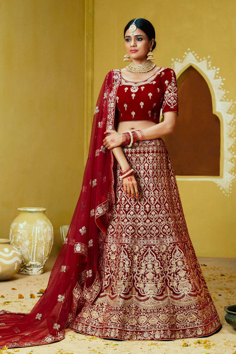 Red Color Bridal Wear 3 Piece Lehenga In Velvet Fabric With Embroidery Work