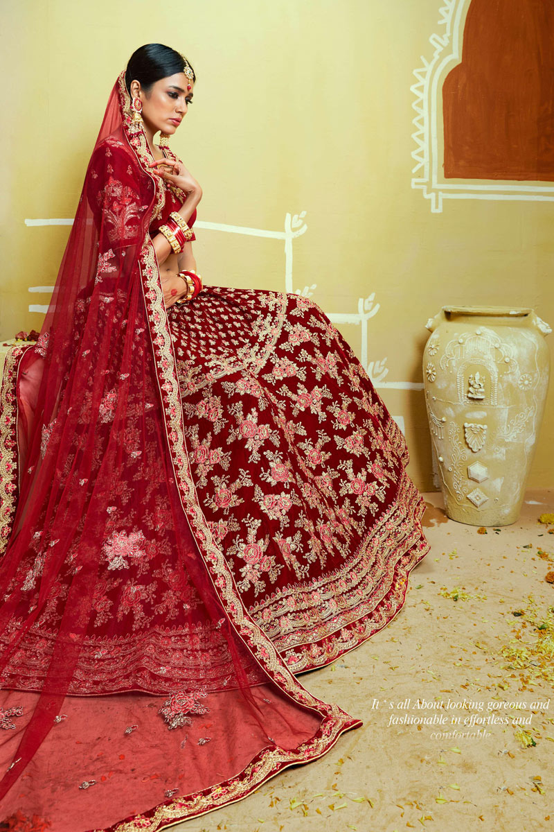 Red Color Velvet Fabric Bridal Wear 3 Piece Lehenga Choli With Embroidery Work