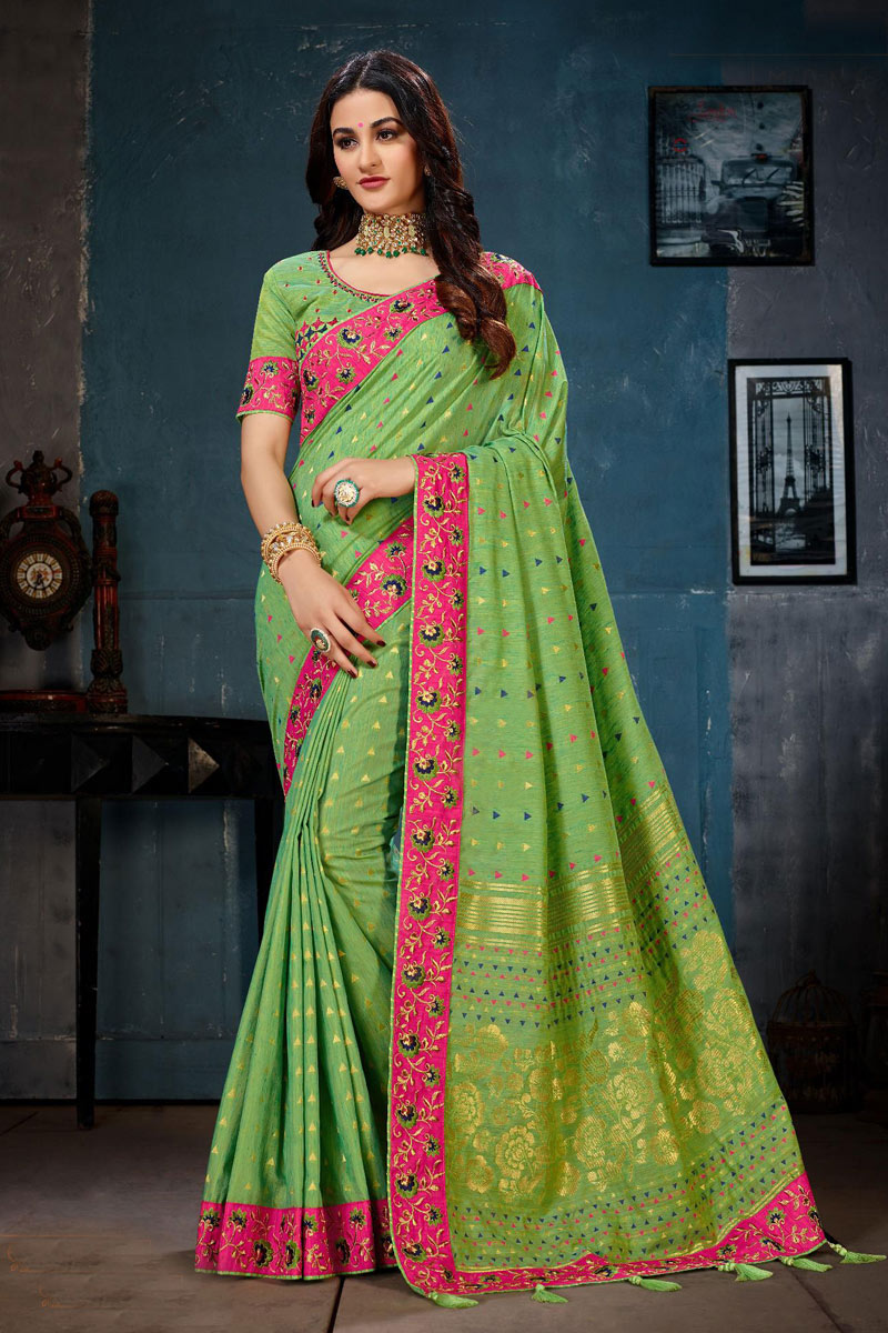 Cotton Fabric Designer Party Wear Saree In Green Color With Embroidery Work