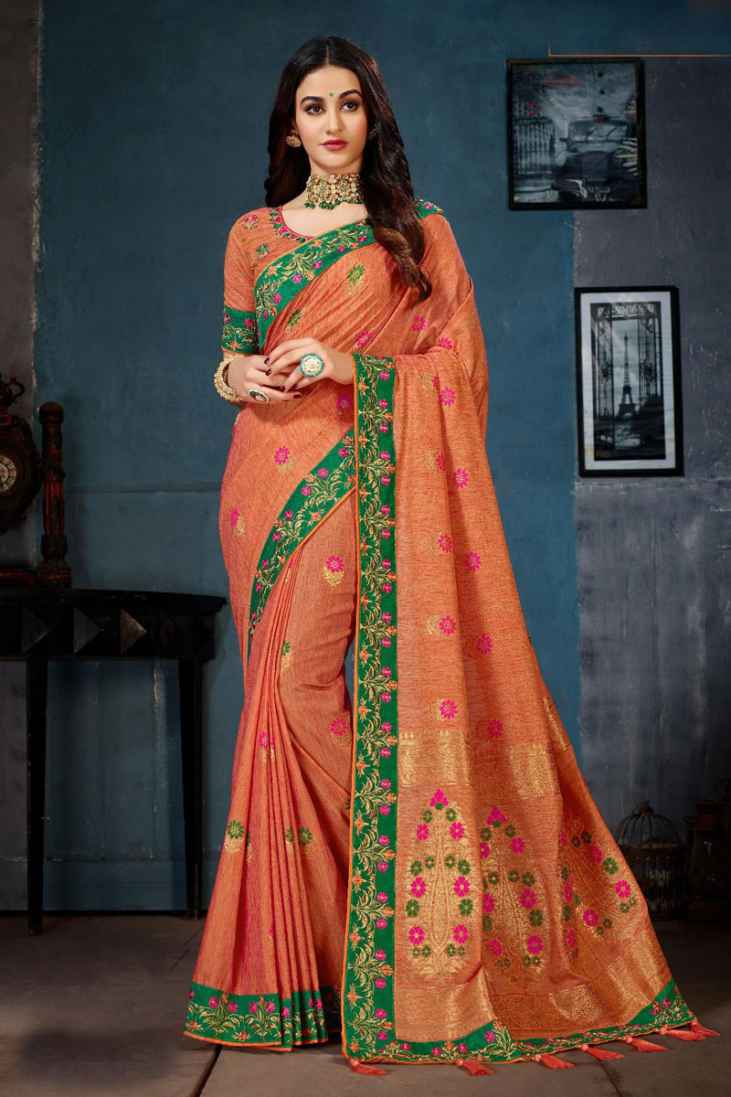 Cotton Fabric Designer Saree In Orange With Embroidery Designs And Attractive Blouse